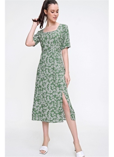 Pink Park Kare Yaka Yırtmaçlı Dokuma Elbise RD00022 Yeşil